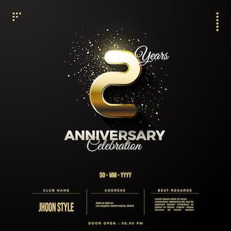 Invitation du 2e anniversaire avec chiffres et date en or