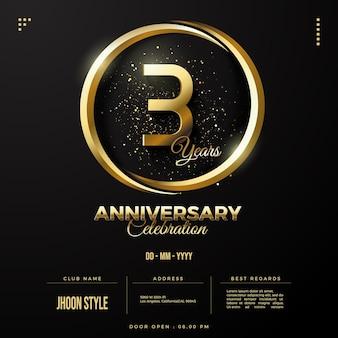 Invitation du 3e anniversaire avec des chiffres en bague en or