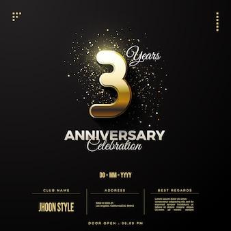 Invitation du 3e anniversaire avec des chiffres dorés luxueux