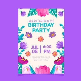 Invitation élégante de fête d'anniversaire avec des fleurs