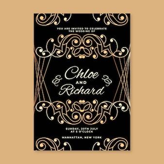 Invitation élégante de fête de mariage de conception d'or