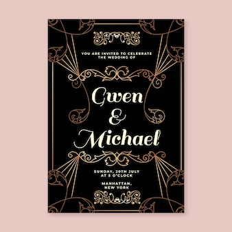 Invitation élégante de fête de mariage d'or