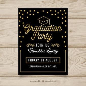 Invitation élégante fête noire de remise des diplômes