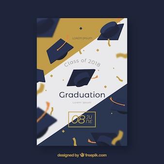 Invitation élégante fête de remise des diplômes avec un style d'or