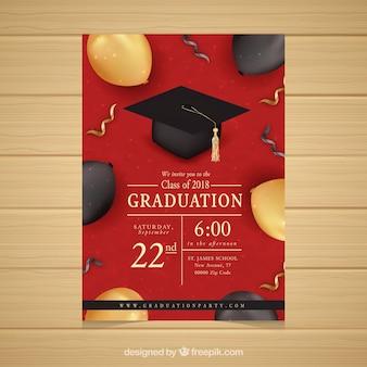 Invitation élégante fête rouge de remise des diplômes