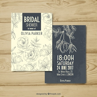 Invitation fantastique bachelorette avec des fleurs dans un style vintage