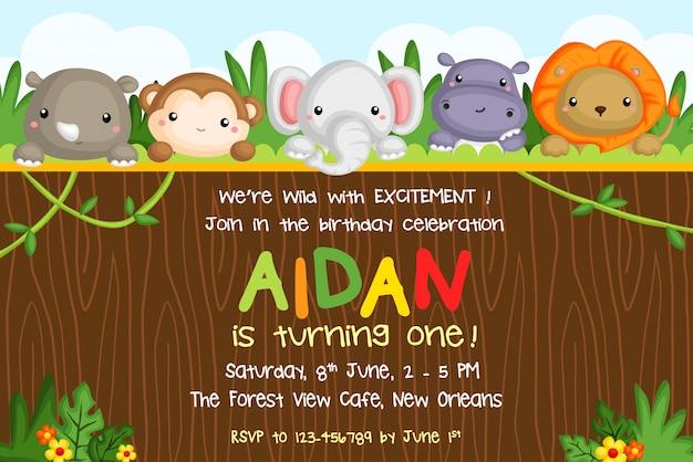 Invitation de fête d'anniversaire d'animaux de safari