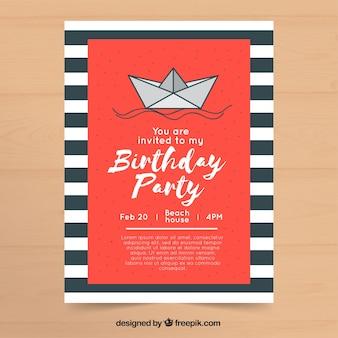 Invitation de fête d'anniversaire au design plat