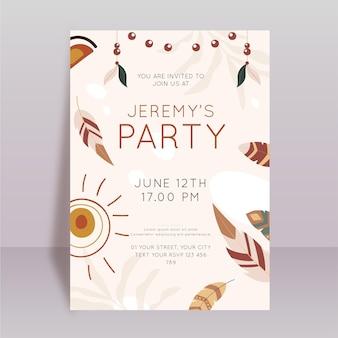 Invitation de fête d'anniversaire boho