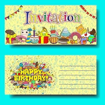 Invitation de fête d'anniversaire cartes de voeux avec des bonbons doodles fond.