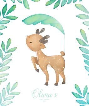 Invitation de fête d'anniversaire de cerf de bébé d'illustration d'aquarelle