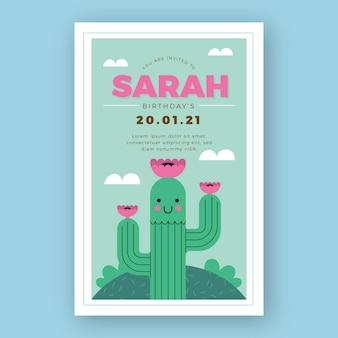 Invitation de fête d'anniversaire enfant cactus mignon