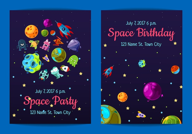 Invitation de fête d'anniversaire de l'espace avec des éléments de l'espace, des planètes et des navires