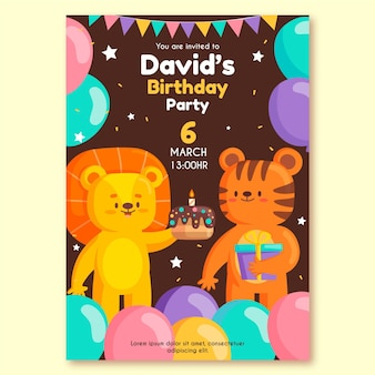 Invitation de fête d'anniversaire pour enfants avec des animaux
