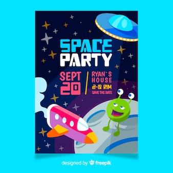 Invitation fête d'anniversaire pour petit garçon avec le thème de l'espace