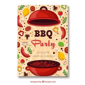 Invitation de fête barbecue dans un style plat