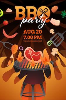Invitation de fête barbecue, modèle de carte ou affiche avec grill