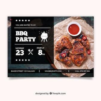 Invitation à la fête barbecue avec photo