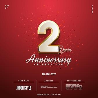 Invitation à la fête du 2e anniversaire avec des chiffres bordés d'or
