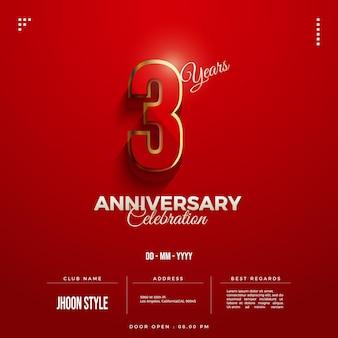 Invitation à la fête du 3e anniversaire avec des chiffres fantaisie bordés d'or