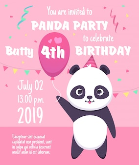Invitation à une fête d'enfants. cartes de voeux de personnages de panda avec modèle de pancarte de célébration de fête d'animaux mignons petits animaux