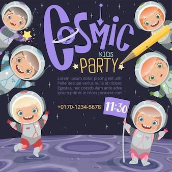 Invitation de fête d'enfants. fond d'espace de dessin animé pour enfants astronautes avec place pour le vecteur de texte
