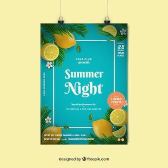 Invitation de fête d'été avec des citrons dans un style réaliste