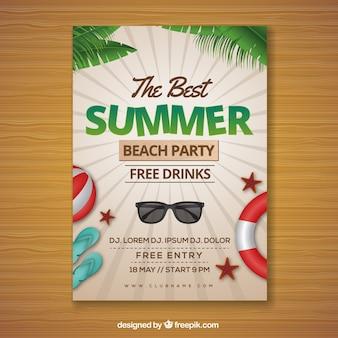 Invitation de fête d'été avec des éléments dans un style réaliste