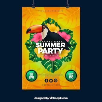 Invitation de fête d'été avec toucan dans un style réaliste