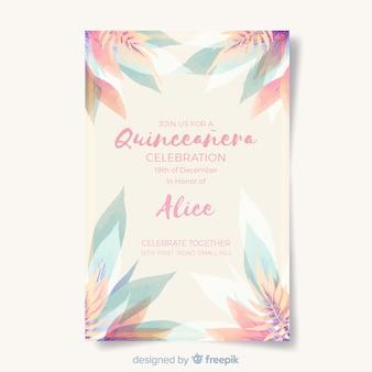 Invitation à la fête avec feuilles quinceañera