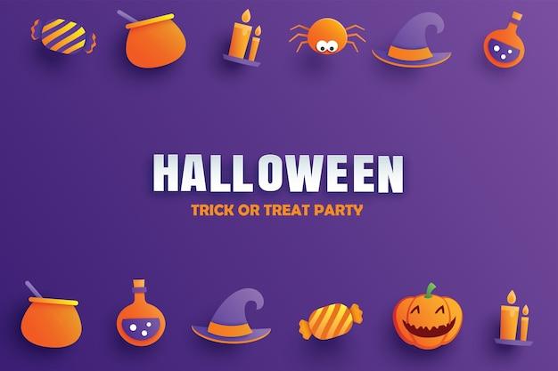 Invitation à une fête d'halloween avec la conception d'élément d'art en papier.