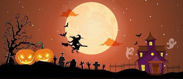 Invitation fête halloween avec sorcière