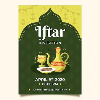 Invitation à une fête iftar dessinée à la main