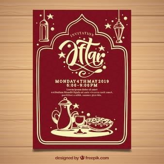 Invitation fête iftar avec du thé dans un style dessiné à la main