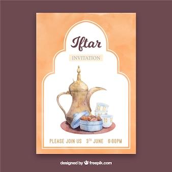 Invitation de fête iftar avec des produits de thé
