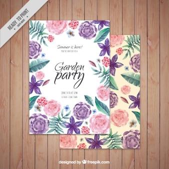 Invitation de fête de jardin fleuri aquarelle