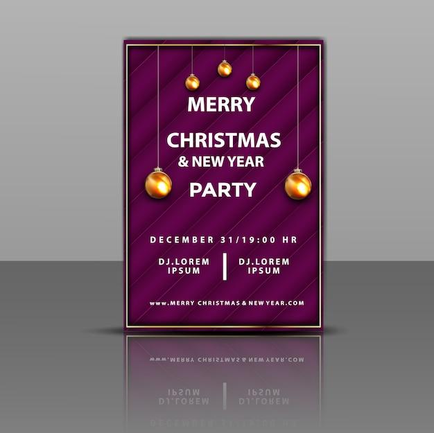 Invitation de fête de luxe joyeux noël et nouvel an