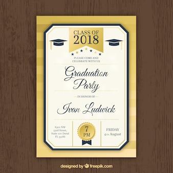 Invitation de fête moderne de remise des diplômes en or