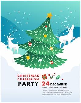 Invitation de fête de noël avec illustration de sapin de noël, cadeau et neige