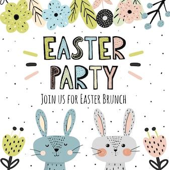 Invitation à la fête de pâques avec des lapins mignons