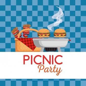 Invitation de fête de pique-nique icônes définies