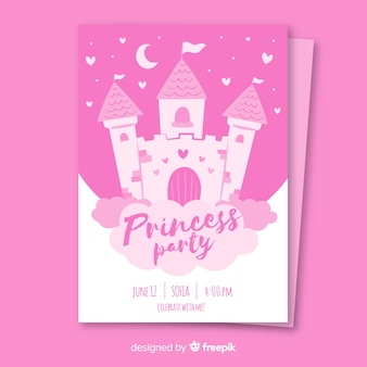 Invitation de fête princesse dessinée à la main
