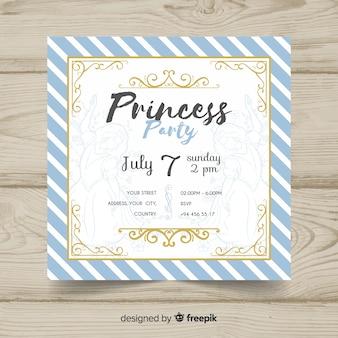 Invitation de fête princesse dessinée à la main