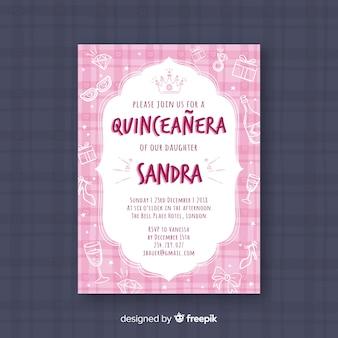 Invitation de fête quinceañera rose avec des bijoux