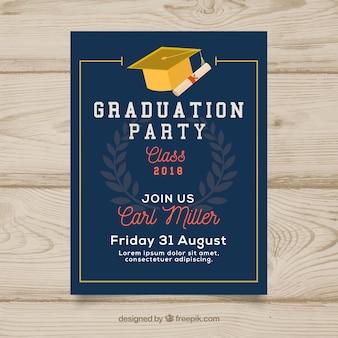 Invitation de fête de remise des diplômes bleu foncé