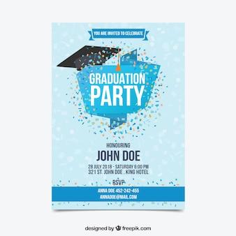 Invitation de fête de remise des diplômes avec des confettis