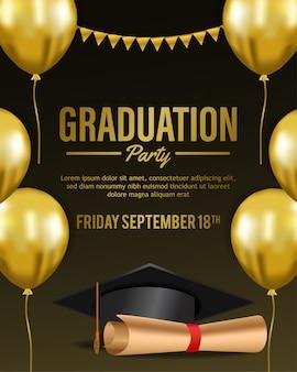 Invitation de fête de remise des diplômes de luxe