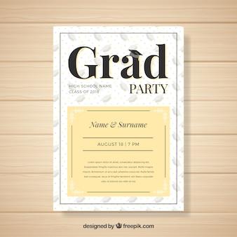Invitation de fête de remise des diplômes moderne créative