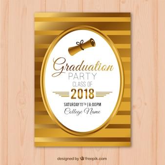 Invitation de fête de remise des diplômes or