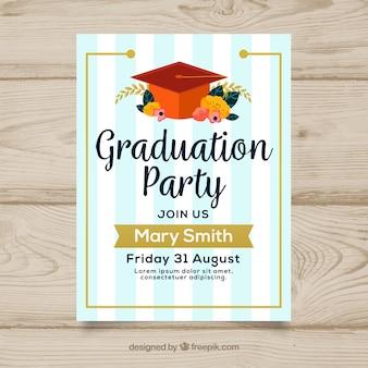 Invitation de fête de remise des diplômes rayés